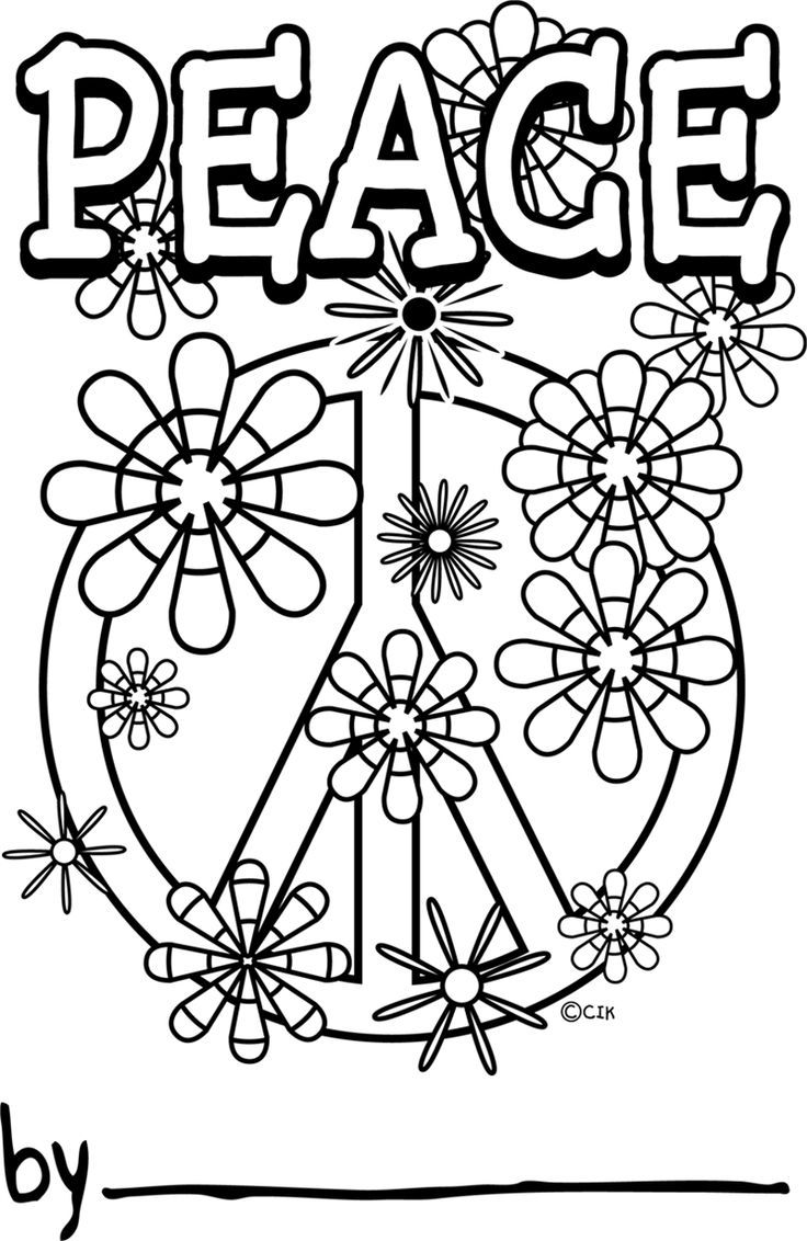 Childrens Peace Sign Coloring Pages For Free Printable Page Template Print And Color