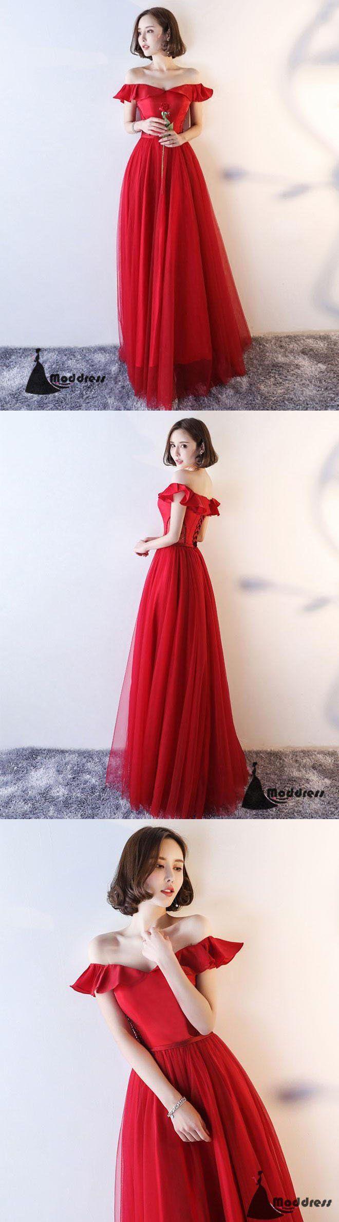 Red long prom dress off the shoulder evening dress aline formal