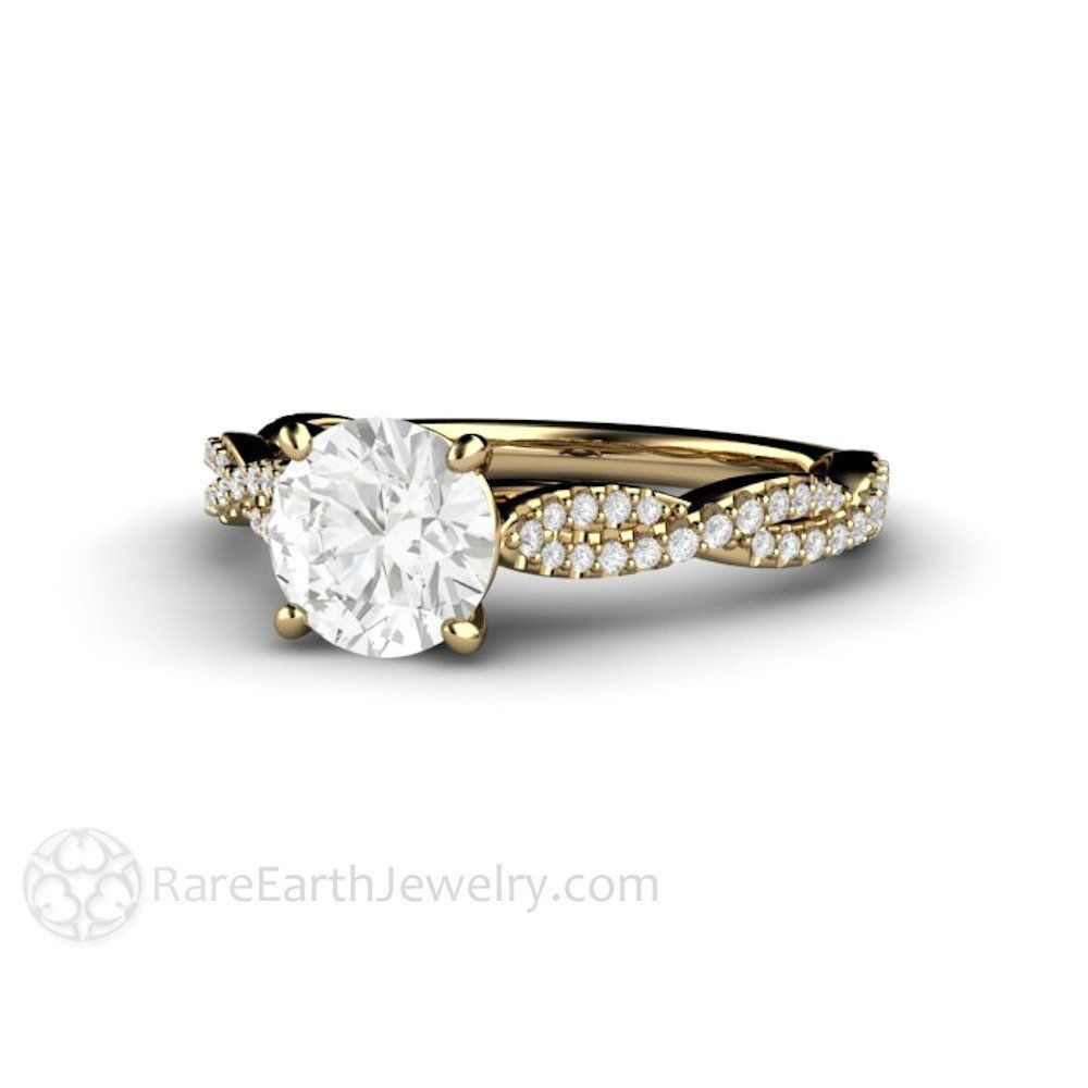 Rare Earth Jewelry 1ct Infinity Moissanite Solitaire Engagement Ring