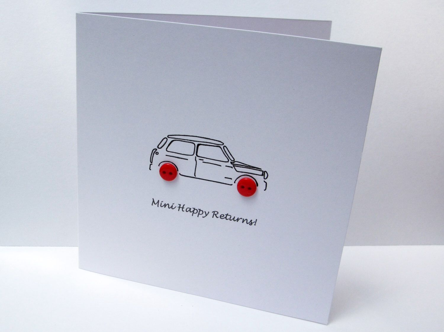 Mini birthday card car birthday card mini with button wheels mini birthday card car birthday card mini with button wheels mini happy returns handmade greeting card etsy uk bookmarktalkfo Images