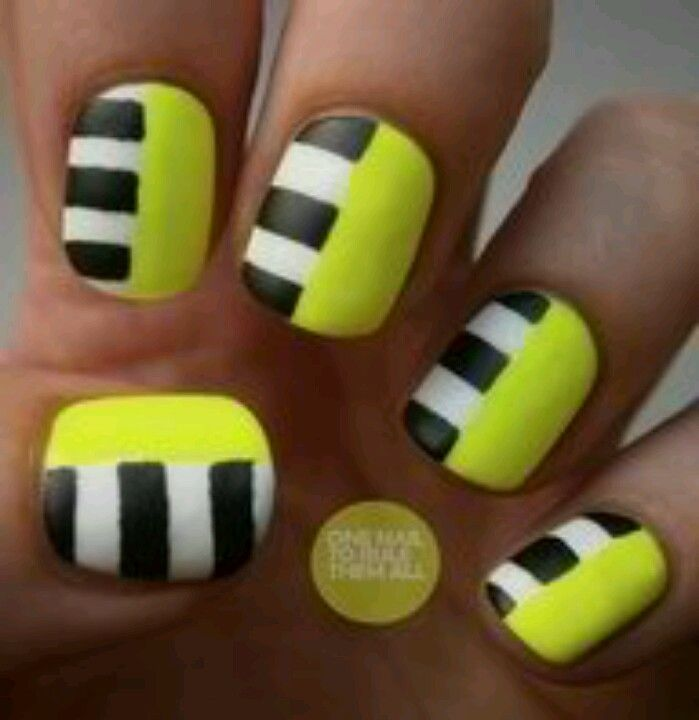 Stripes and neon nails