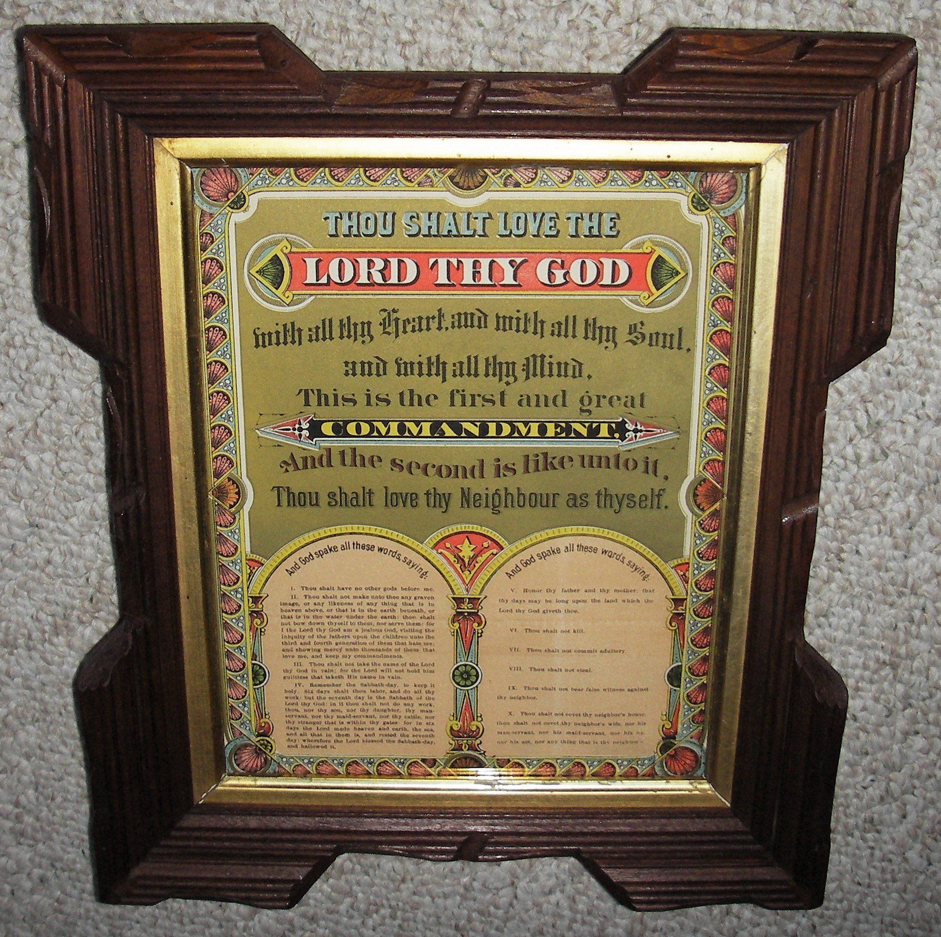 Excited To Share The Latest Addition To My Etsy Shop Antique 1880 Print Of The Ten Commandments Housed In Carved Wood Frame Vintage Framed Prints Book Plates
