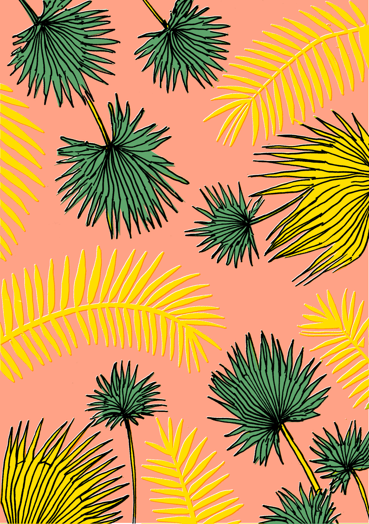 MINTY WARES | Playful graphic print and pattern design. Palm leaves on pink. Elena Boils