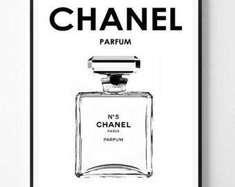 Chanel Print Fashion Coco Perfume Bottle Modern Typography Art Minimalist Scandinavian