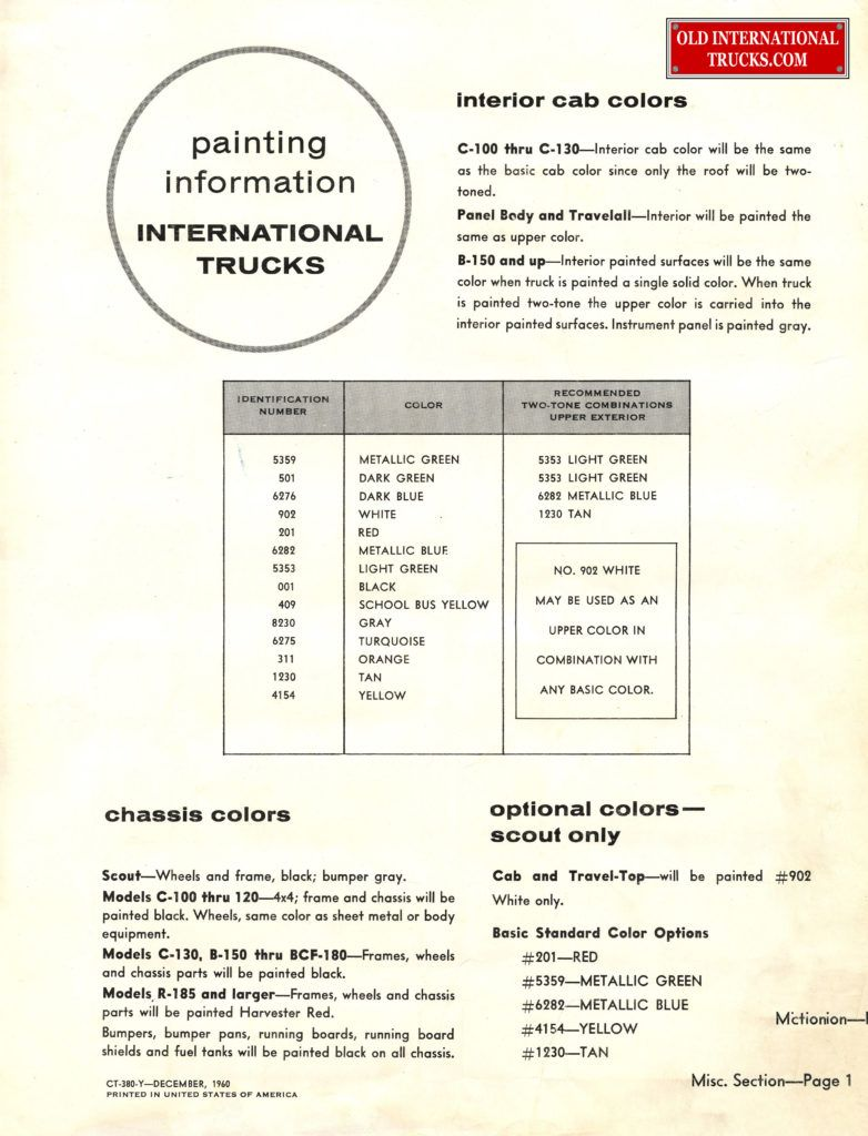 1959 1960 B Line Color Chart Color Charts Old International