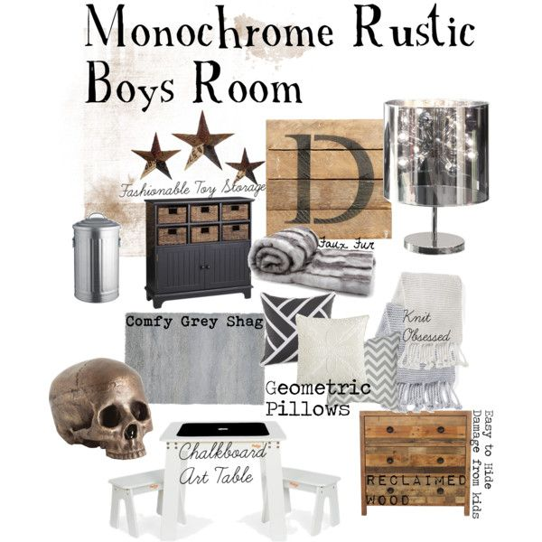 """Monochrome Rustic Boys Room"" by tlexrawr on Polyvore"
