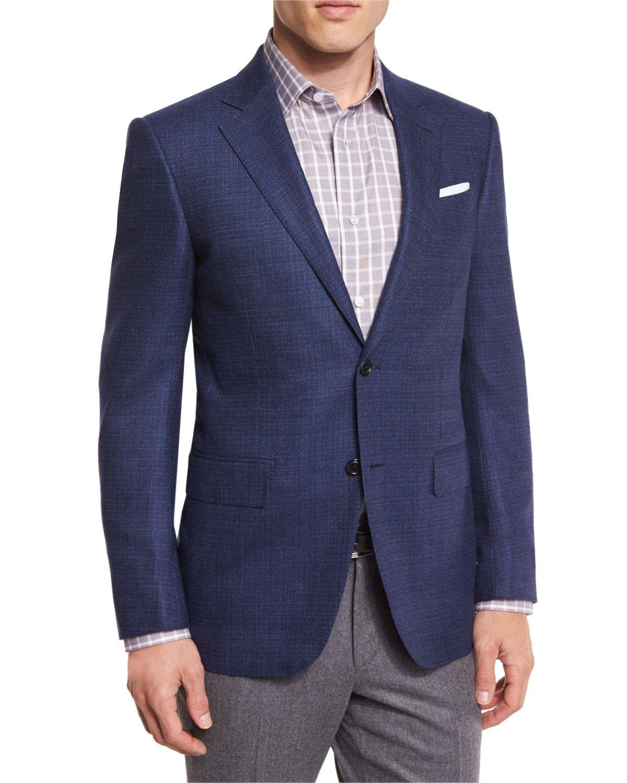 c905821ad Tic Wool Two-Button Sport Coat, Navy (Blue), Men's, Size: 52R (41R US) -  Ermenegildo Zegna