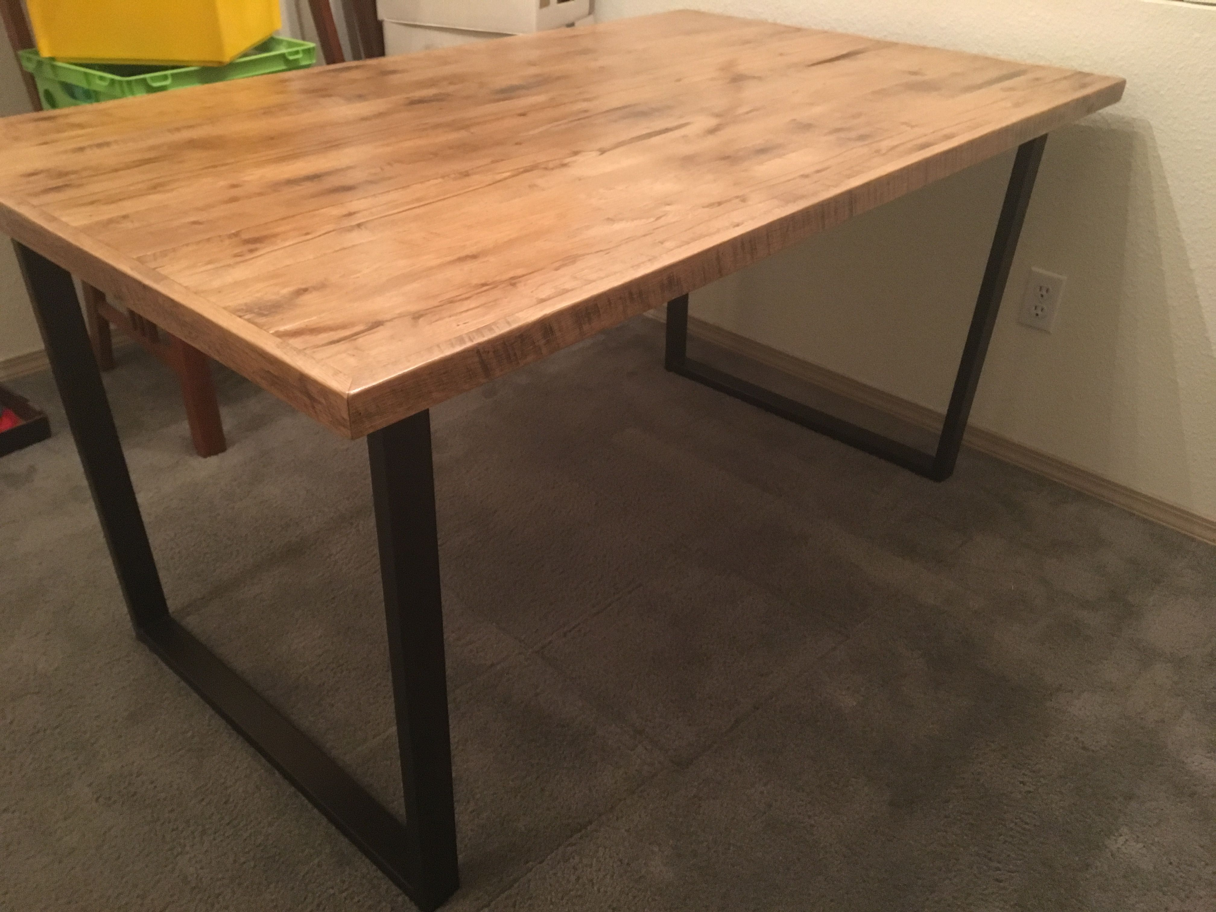 Beautiful Reclaimed White Oak Table Top With Antique Bronze Powder Coated Steel Legs Find Red Miter Furniture On Facebook