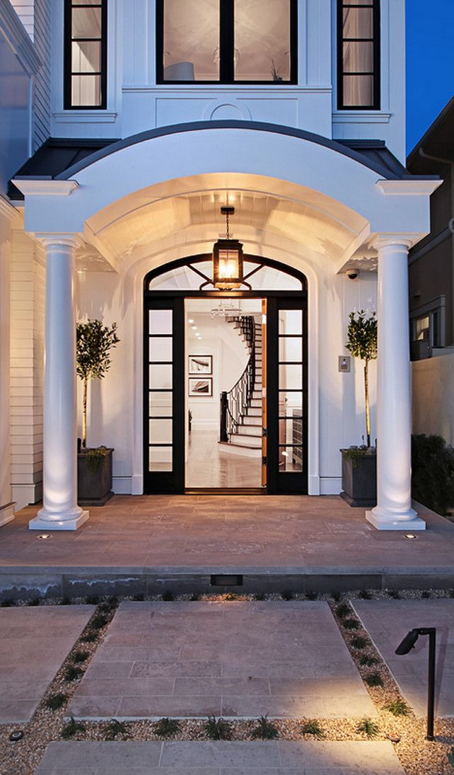 Arched Front Door Arched Portico White House With Black Trim