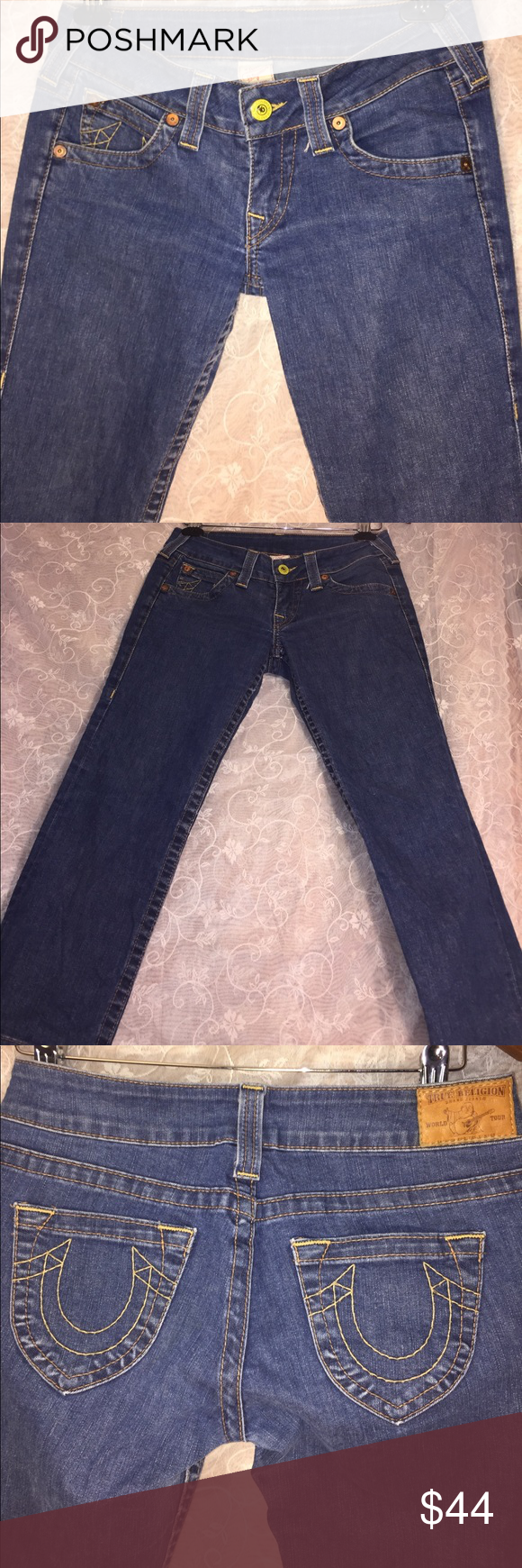 True Religion Brand Jeans Adorable ankle length low cut size 28 True Religion Brand Jeans. Perfect for all seasons and can pair with many different styles! Great with anklets, flats, sanders and mug more! True Religion Jeans Ankle & Cropped