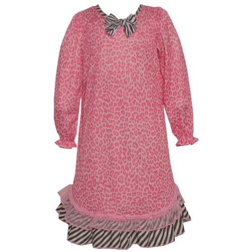 ac8fbd62b86c Laura Dare Little Girls Pink Leopard Print Zebra Ruffle Bow ...