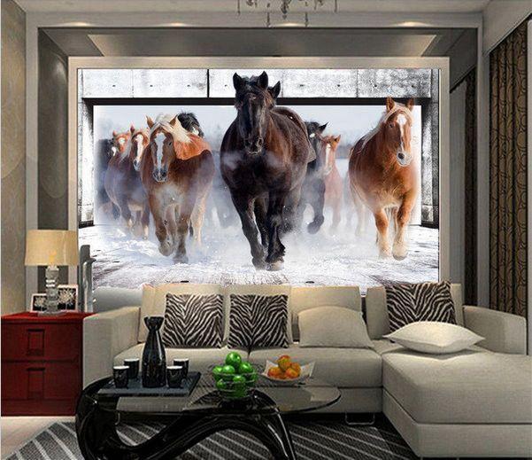 . 3d Wallpaper Running Horses Mural Animal Wallpaper   bed   Horse