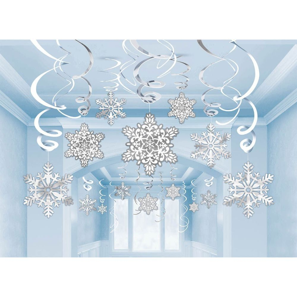 30 Snowflakes hanging swirls BUMPER PACK party decoration