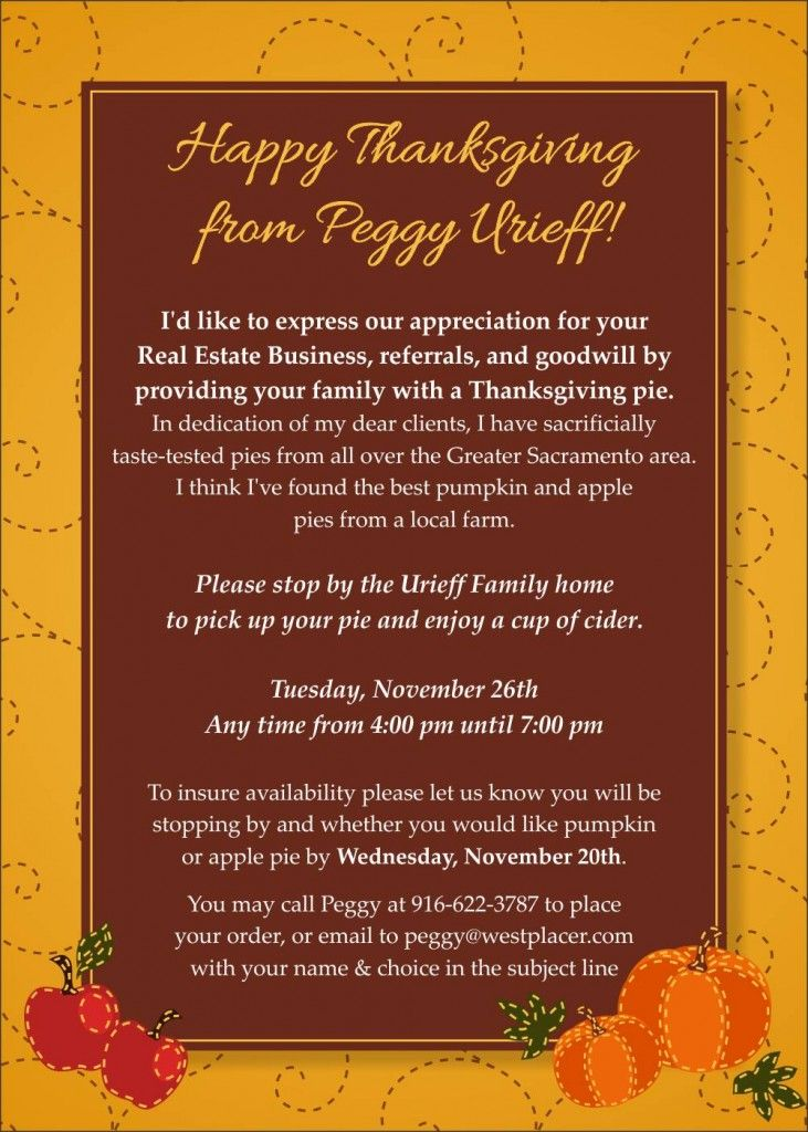 Try these client appreciation event ideas for realtors to generate thanksgiving pie card popby website more thecheapjerseys Images