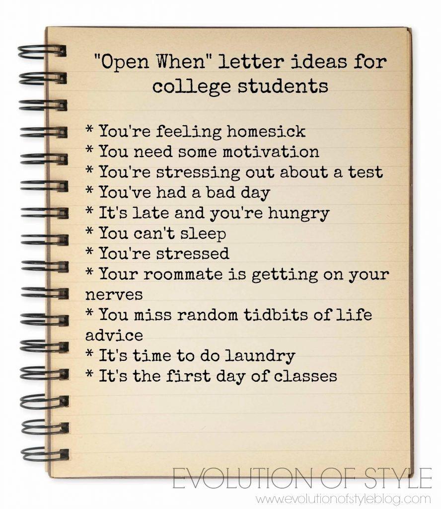 Open When Letters, Open When