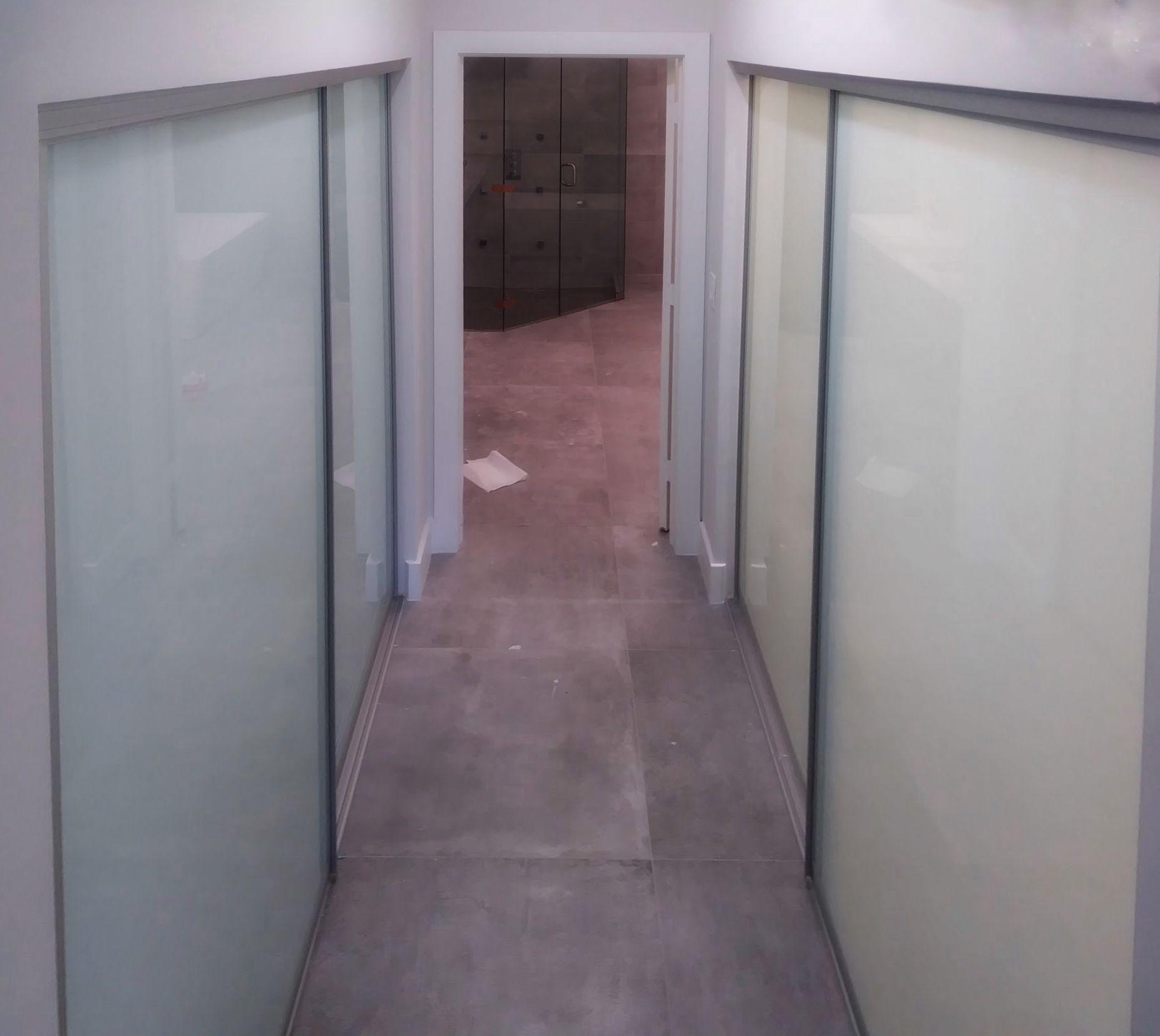 Hallway Closets With Glass Sliding Doors Frosted Glass Satin Aluminum Frames Modern Closet Doors Sliding Glass Door Glass Closet Doors