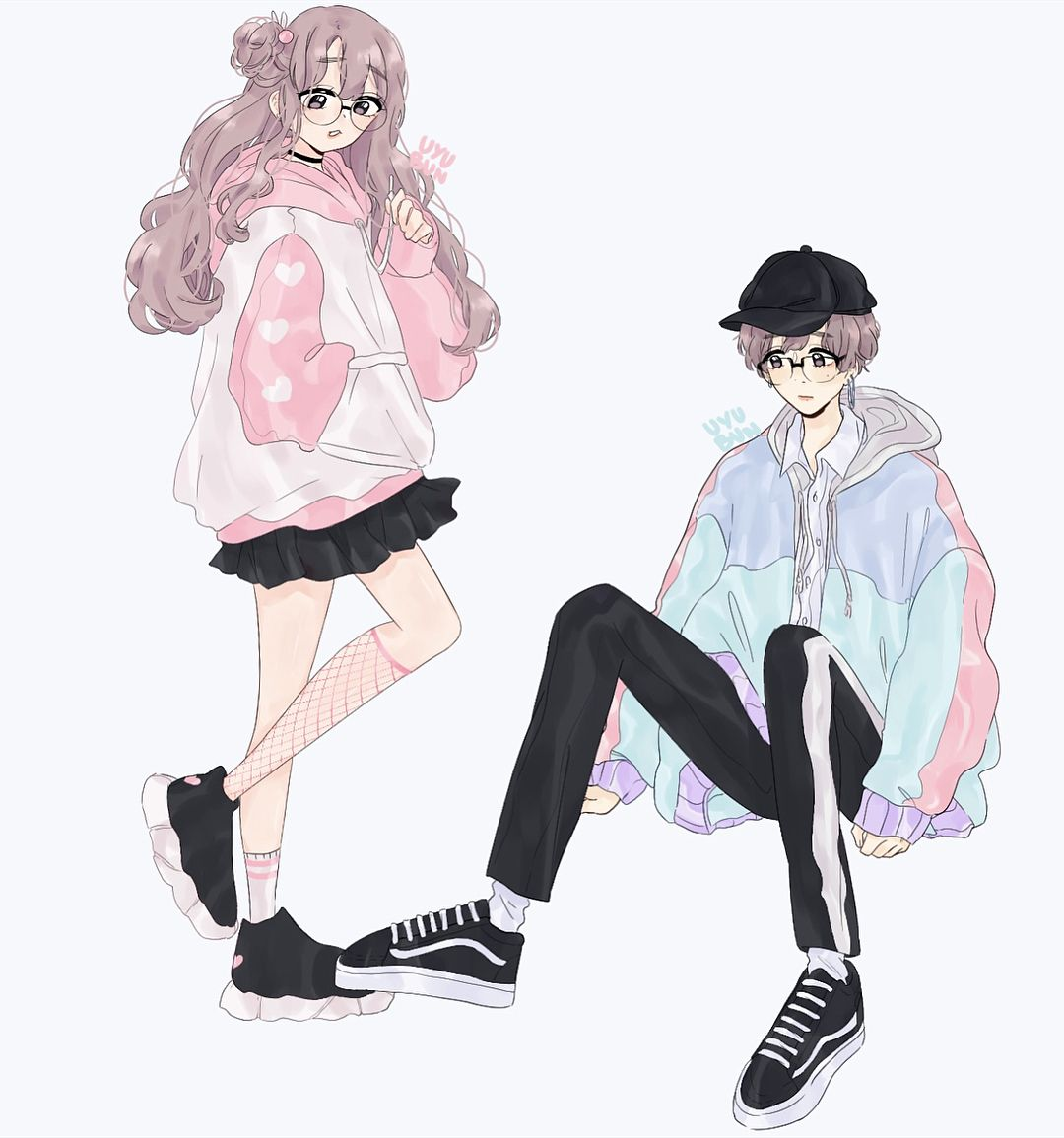 Twin Tae If I Made A Webtoon About Them And Guk And His Sister Would You Read It Fan Art By Uyubun Boy And Girl Drawing Anime Best Friends Art