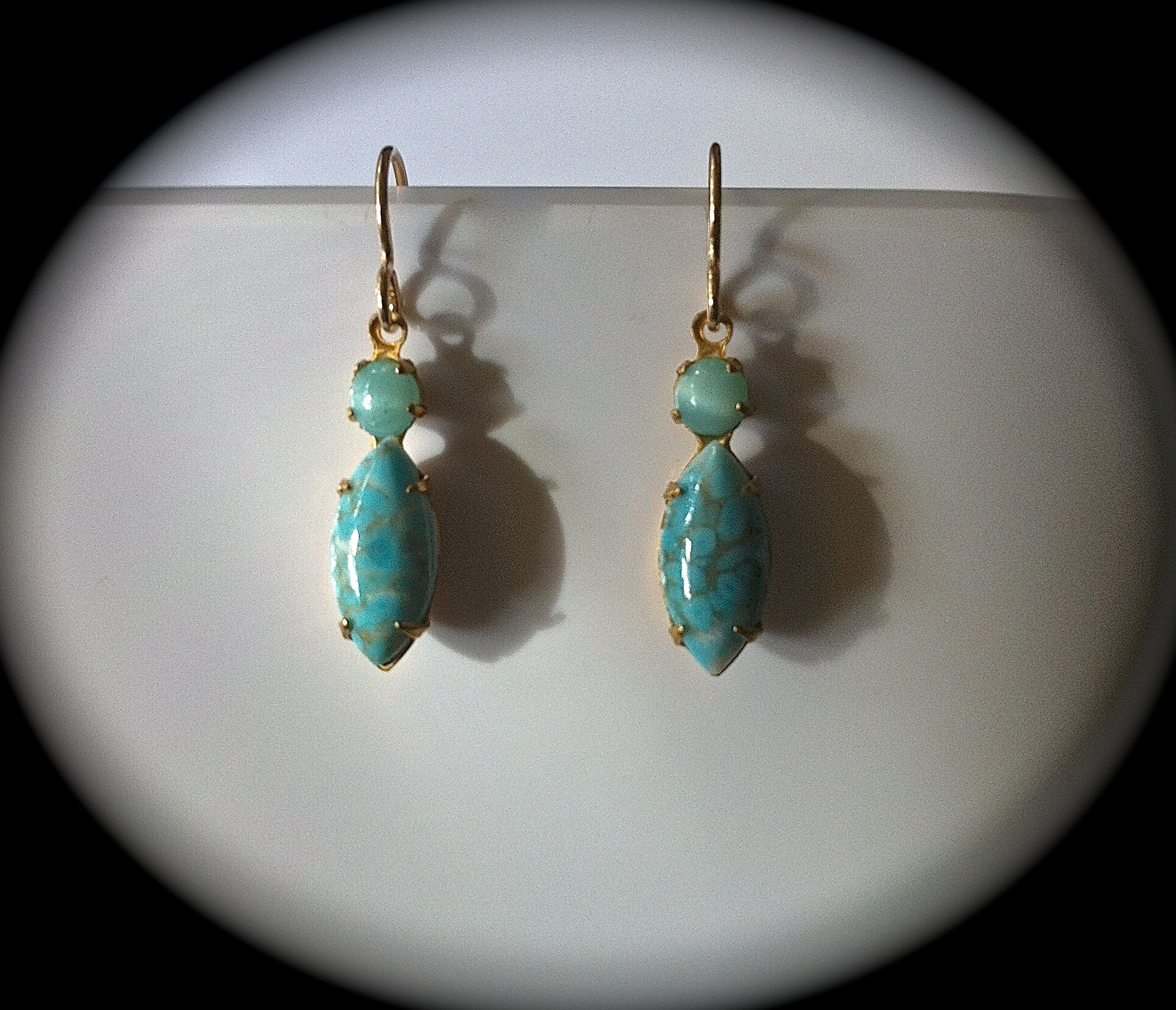 """""""Casual Cowgirl - Giddy Up #turquoise #earrings"""" https://www.etsy.com/listing/168407630/blue-turquoise-earrings-gold-dangle?ref=shop_home_active"""