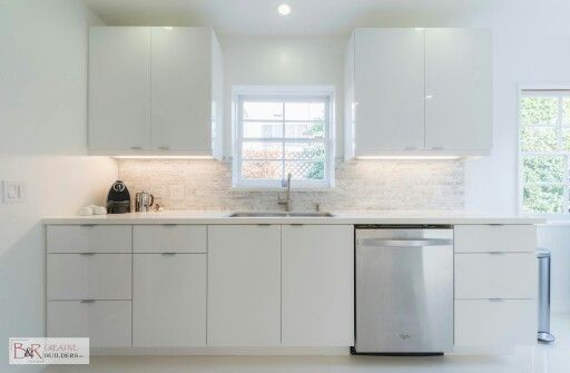 Glossy white flat panel kitchen cabinet | Kitchen in 2019 ...