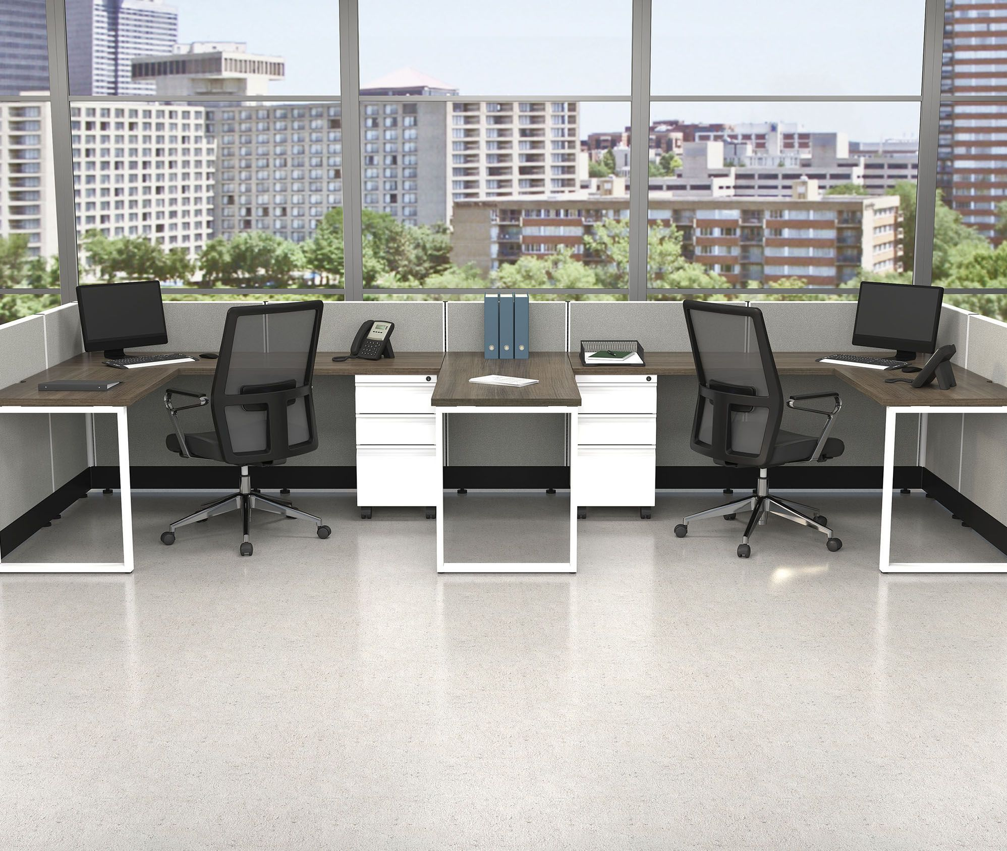 Low Partition Walls Create An Open Feel For An Open