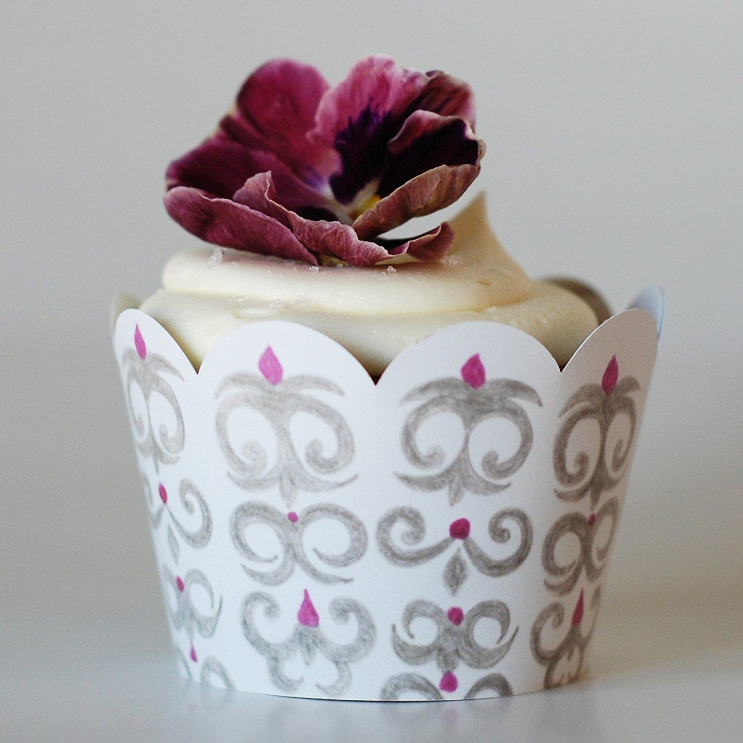 Amazon.com: Winter Wonderland Wedding Cupcake Wrappers, White, Silver Gray, and Plum Purple Damask Pattern, 36 Reversible Wraps, Confetti Couture Party Supplies: Kitchen & Dining