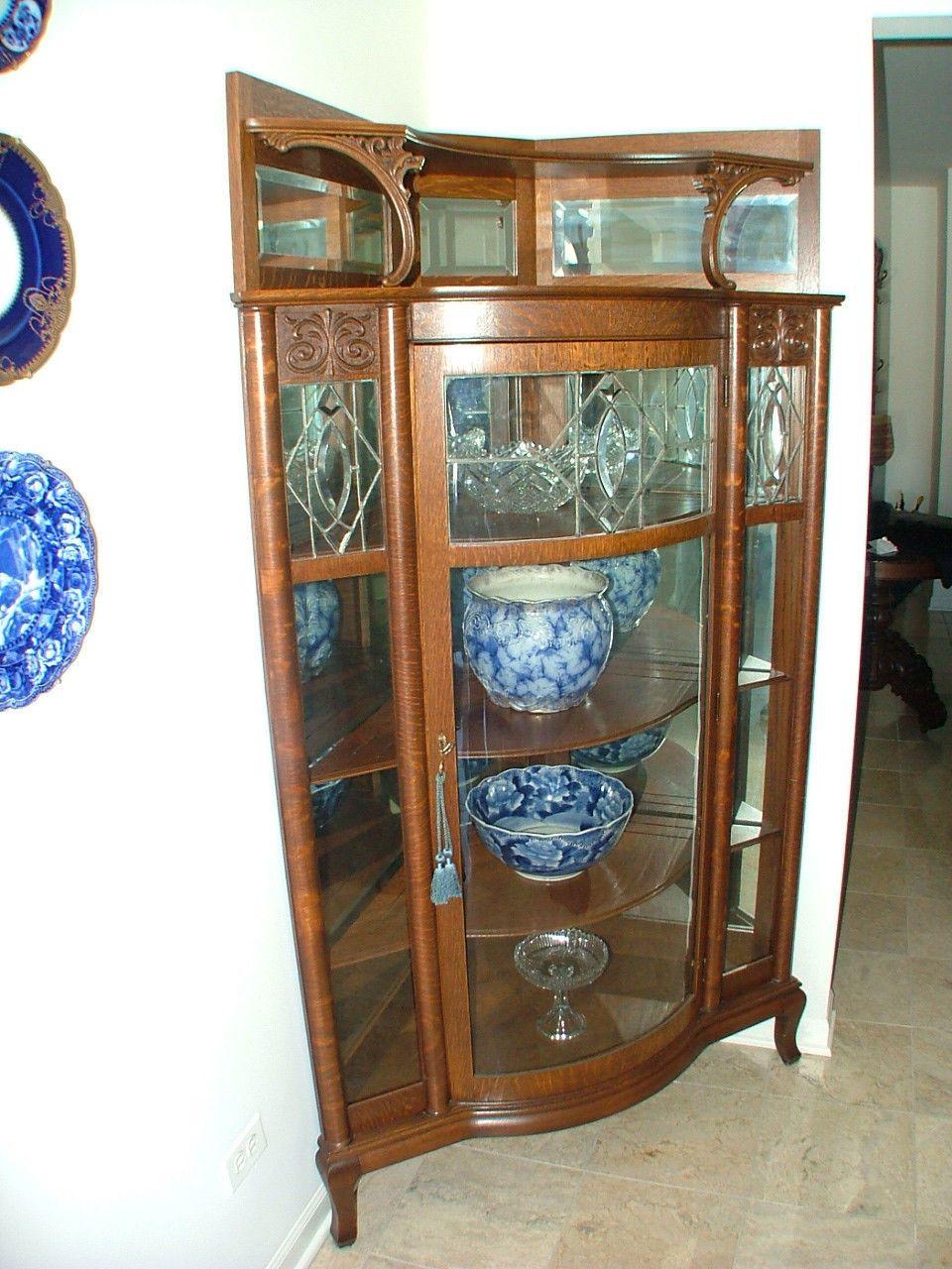 Antique American Oak China Cabinet Ebay