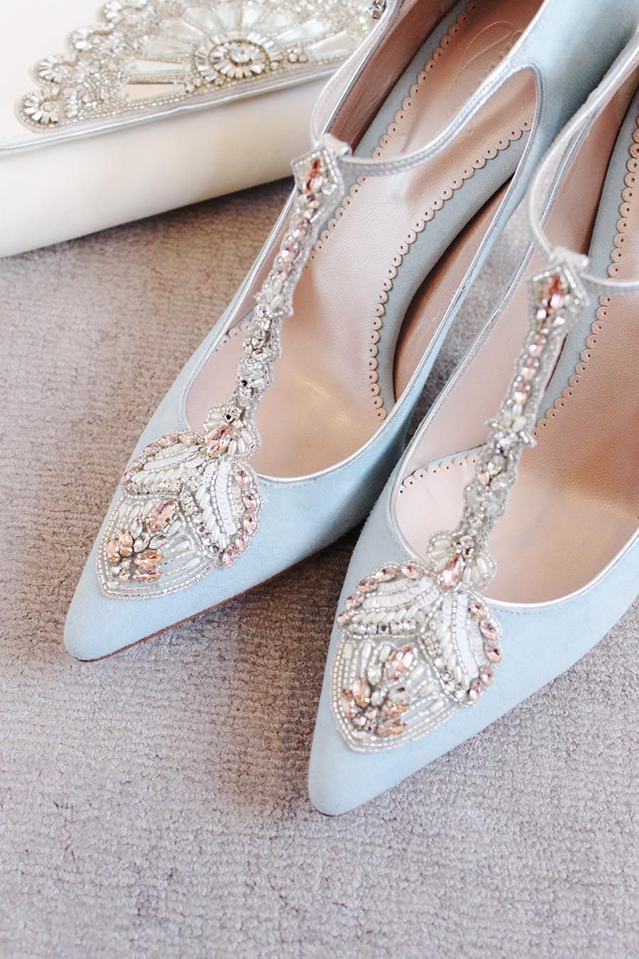 Emmy London Eleonora Duck Egg Blue Bridal Shoes