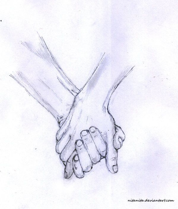 how to draw a couple holding hands
