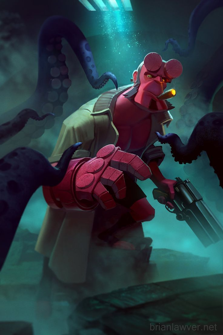 Hellboy - Tentacle Time!, Brian Lawver on ArtStation at https://www.artstation.com/artwork/hellboy-tentacle-time ★ Find more at http://www.pinterest.com/competing/