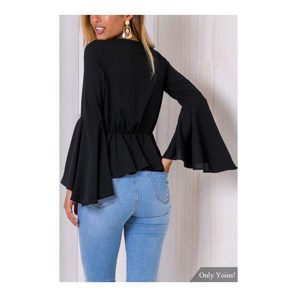 Yoins Fashion Black V-neck Splited Long Flared Sleves Blouse (125 HKD) ❤ liked on Polyvore featuring tops, blouses, long blouse, v-neck tops, long sleeve v neck top, flare tops and bell sleeve tops