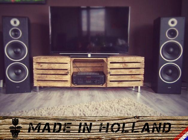 Fernsehschrank aus weinkisten  Handgefertigtes Sideboard aus Weinkisten | Weinkisten ...