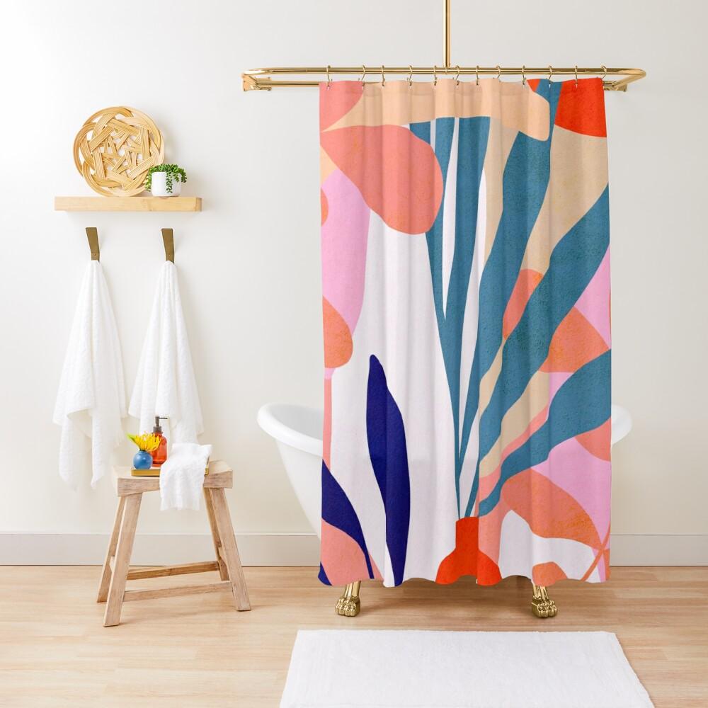 Jungle Love Pink Blue Shower Curtain In 2020 Blue Shower