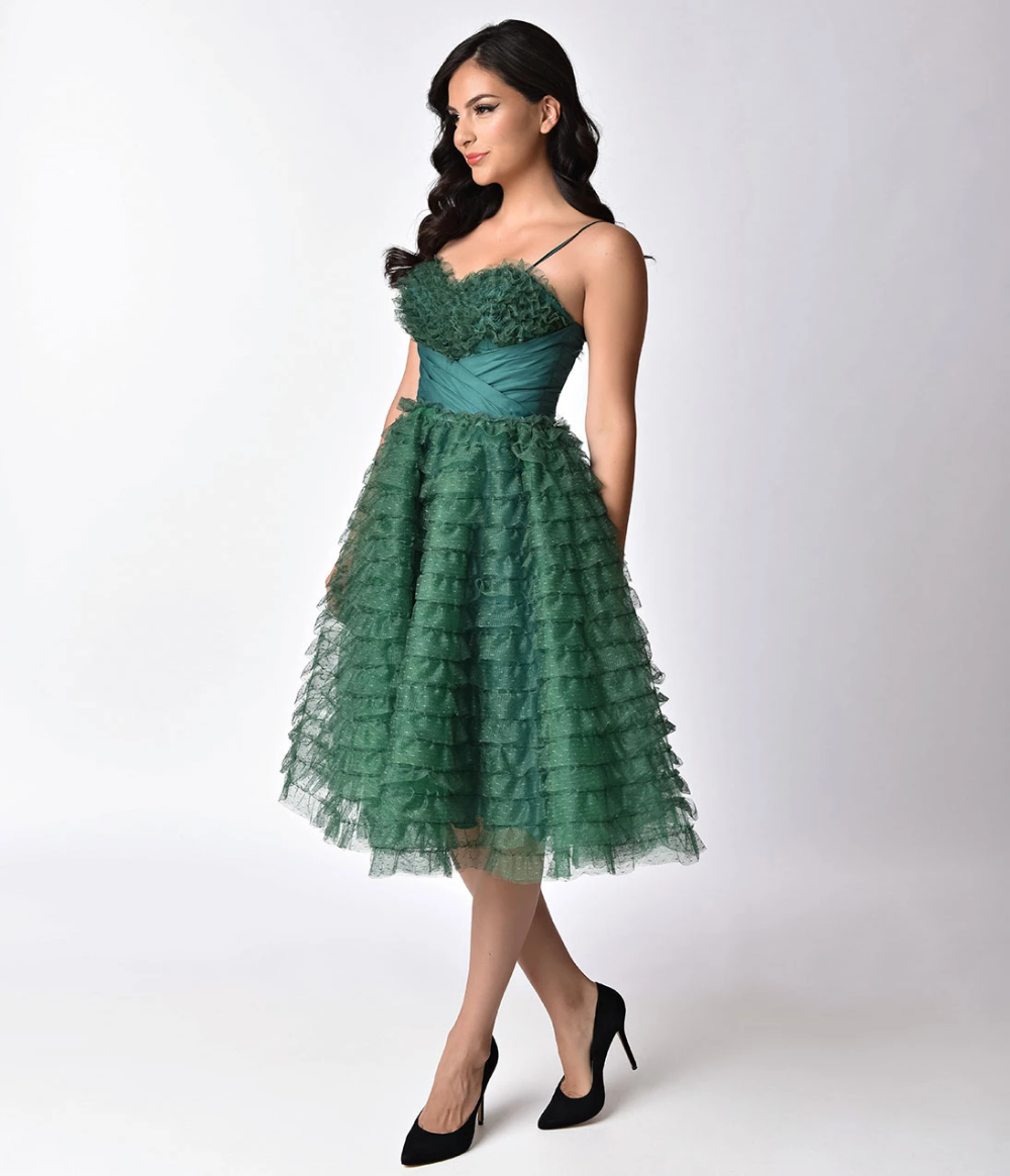 Unique Vintage 1950s Emerald Green Ruffled Tulle Sweetheart Cupcake Swing Dress Evening Dresses Vintage Swing Dress Vintage Inspired Cocktail Dress [ 1164 x 1000 Pixel ]