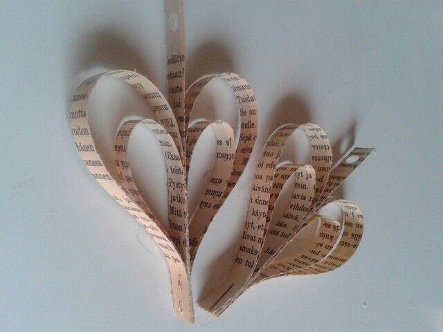 Sydän koriste vanhan kirjan sivuista (suikaleet 10/14/18cm pitkät ja 1cm leveä)