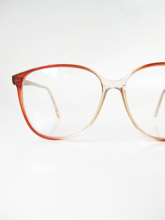 5a4bccfc57 Vintage Round Glasses Womens Eyeglasses 1980s Apricot Orange Circular P3  Hipster Eyeglass Frames Optical 80s Oversized Brown Indie Classic