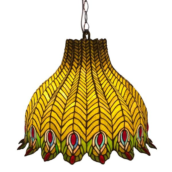 Pride Of The Peacock' Multicolored Stained Glass Pendant Lamp Brilliant Stained Glass Light Fixtures Dining Room Design Decoration
