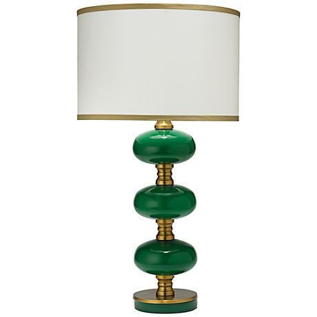 Emerald Green Glass Orbs Are Paired With A Cream Silk Shade Giving This Table Lamp Striking Flair Green Table Lamp Green Lamp Antique Lamp Shades