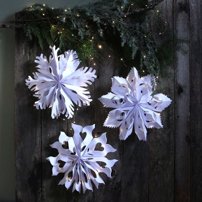 Giant 3D Paper Snowflake Pendants from Paper Bags White paper - white paper template