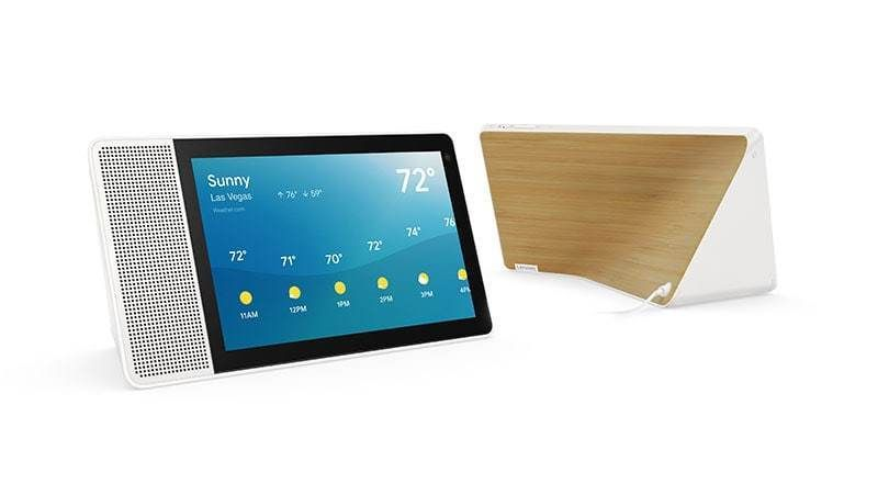 """Lenovo 10/"""" Smart Display with Google Assistant White Front//Bamboo Back"""