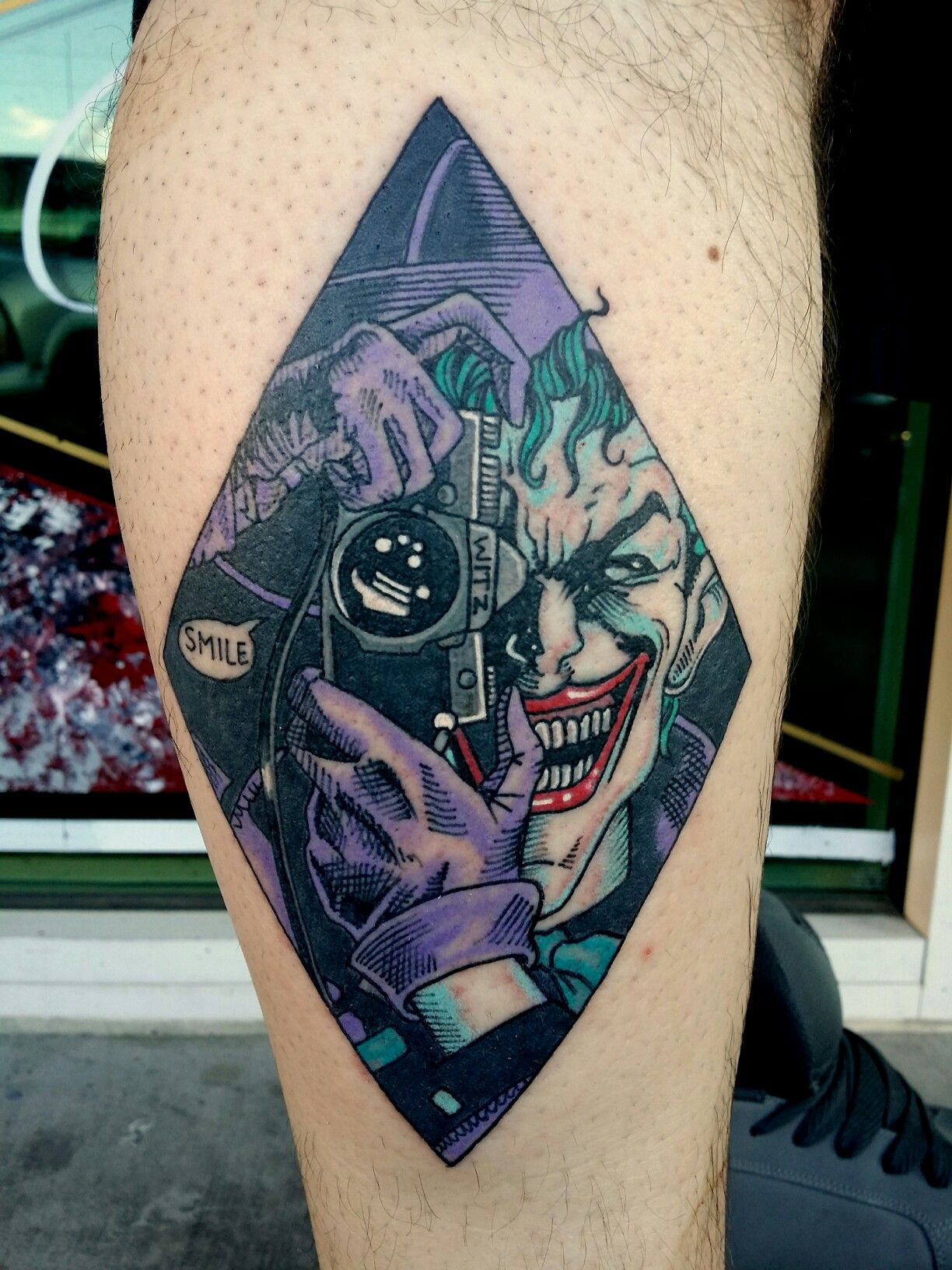 Killing joke joker dc comics tattoo by steve rieck from