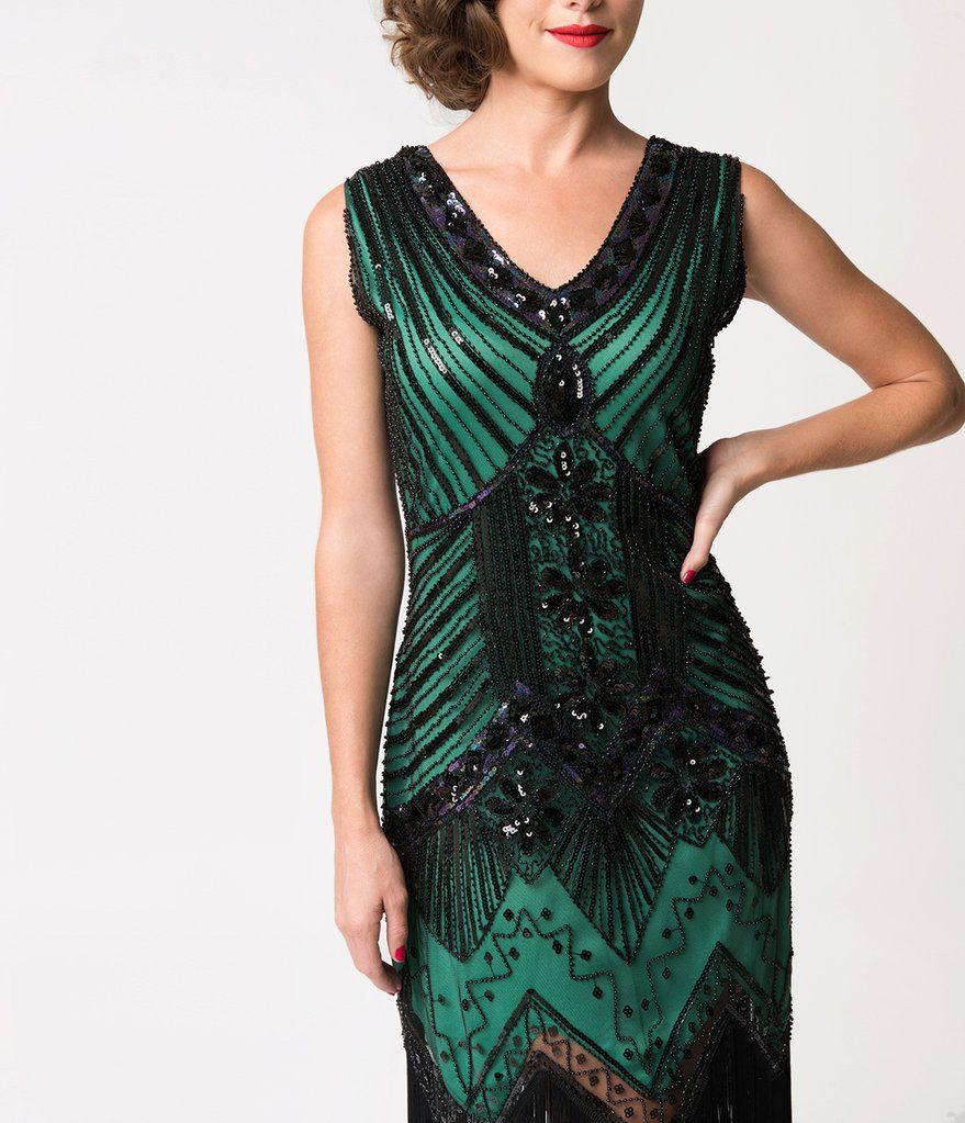 991e39f127e Unique Vintage 1920s Deco Green   Black Sequin Veronique Fringe Flapper  Dress