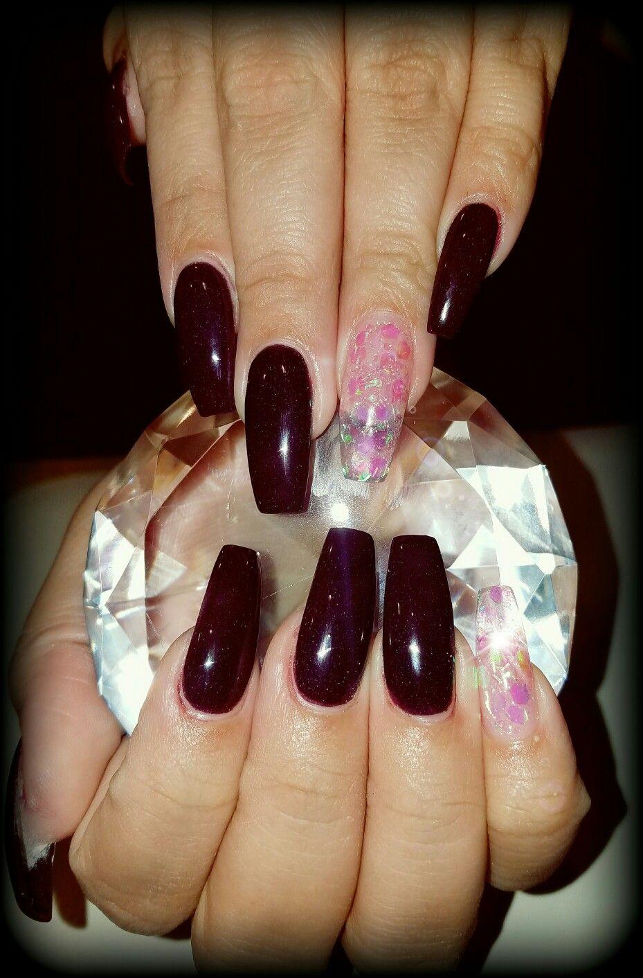 Plum coffin nails | Flirtatious Nails | Pinterest | Coffin nails