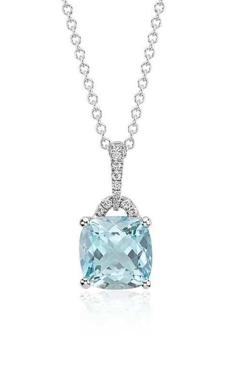 Aquamarine Cushion And Diamond Pendant In 14k White Gold 8x8mm Blue Nile In 2020 Diamond Pendant Gemstones Diamond