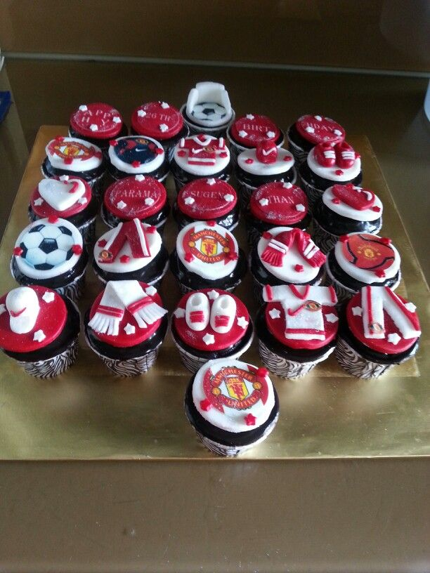 Manchester United Cupcakes Manchester United Cake Soccer Cake Party Cakes