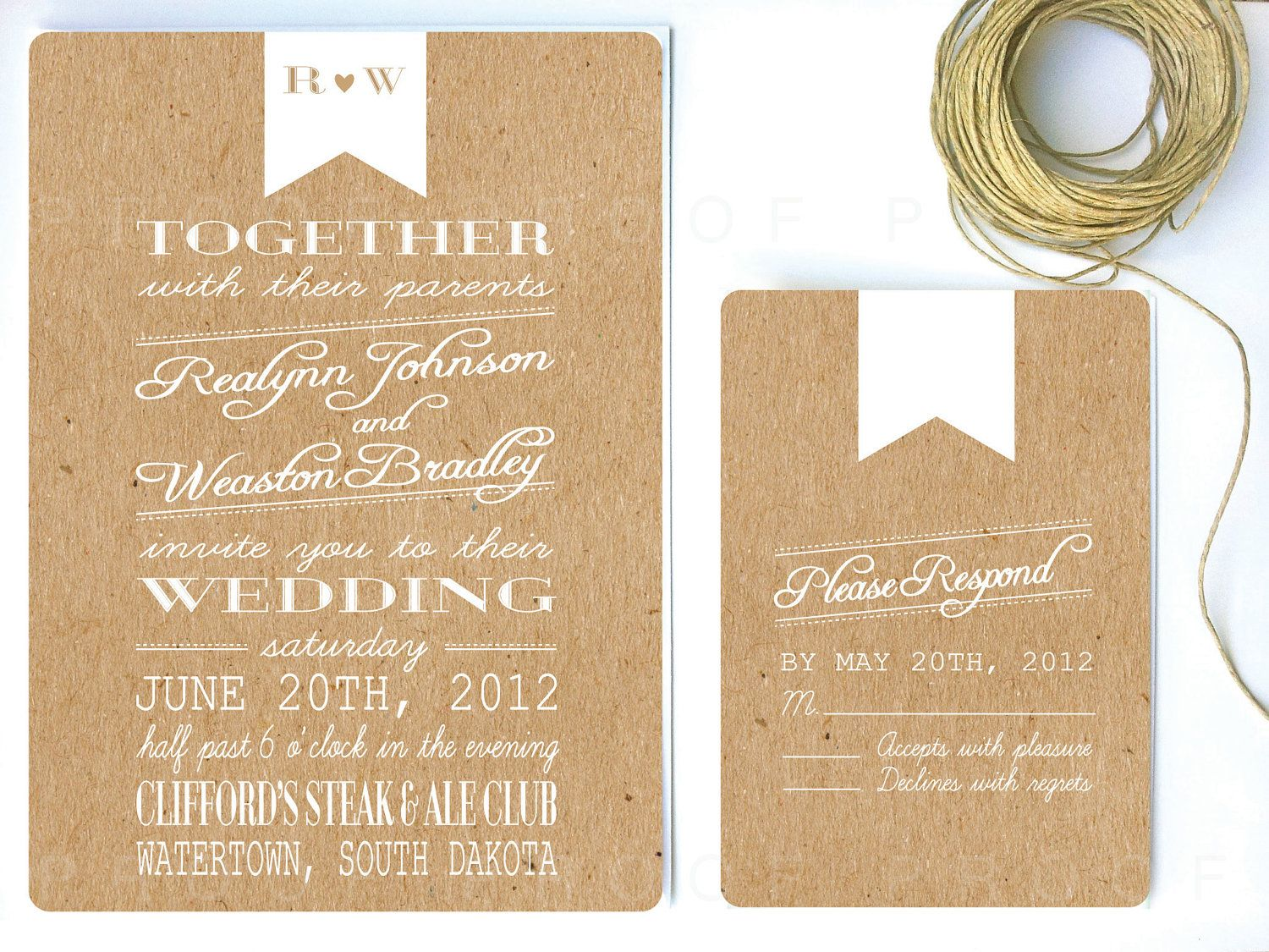 Wedding Invitation White Ribbon U0026 Kraft Paper By Twigsprintstudio