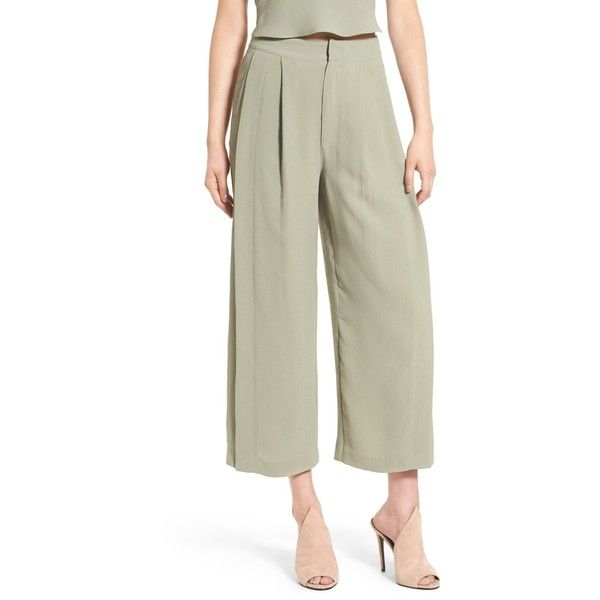 Kendall & Kylie High Waist Wide Leg Crop Pants ($70) ❤ liked on Polyvore featuring pants, capris, grisaille, high waisted wide leg pants, high waisted cropped pants, high-waisted trousers, zipper pants and high waisted wide leg trousers