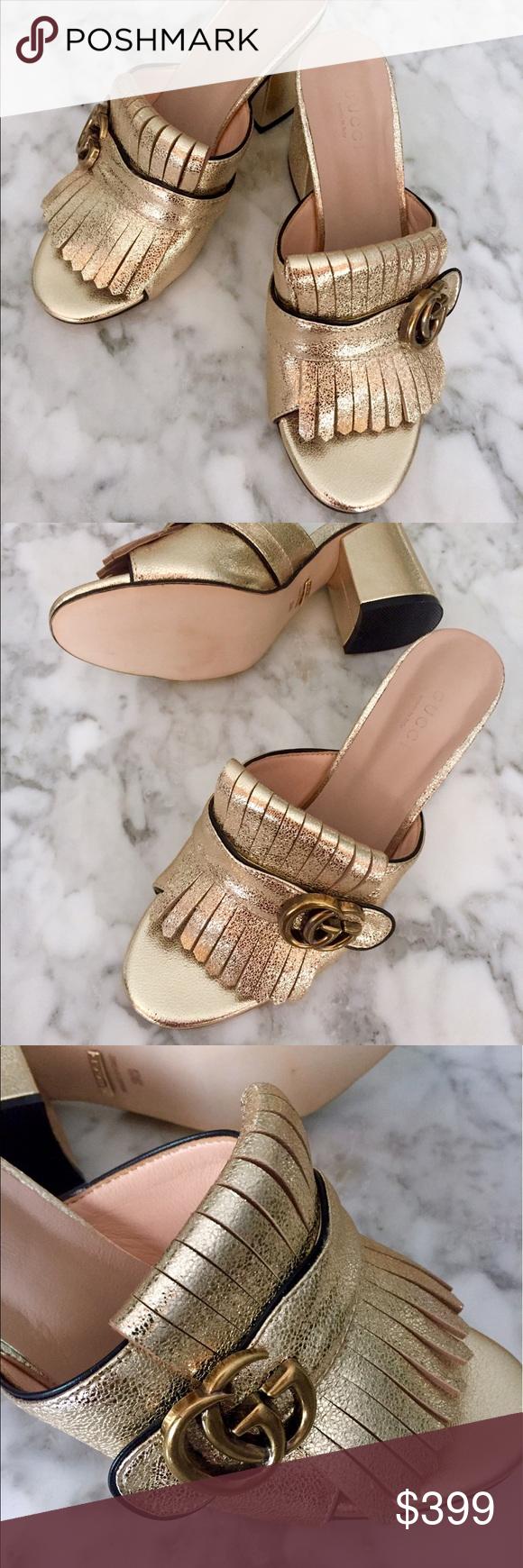 5cbedf60696 GUCCI Marmont Leather Slide Sandals  795 GUCCI Marmont metallic mid heel  slide sandals in size 38. Metallic leather high heel slide sa…