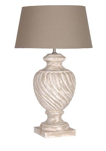 Clic Whitewash Table Lamp With Beige Shade 860mm 265