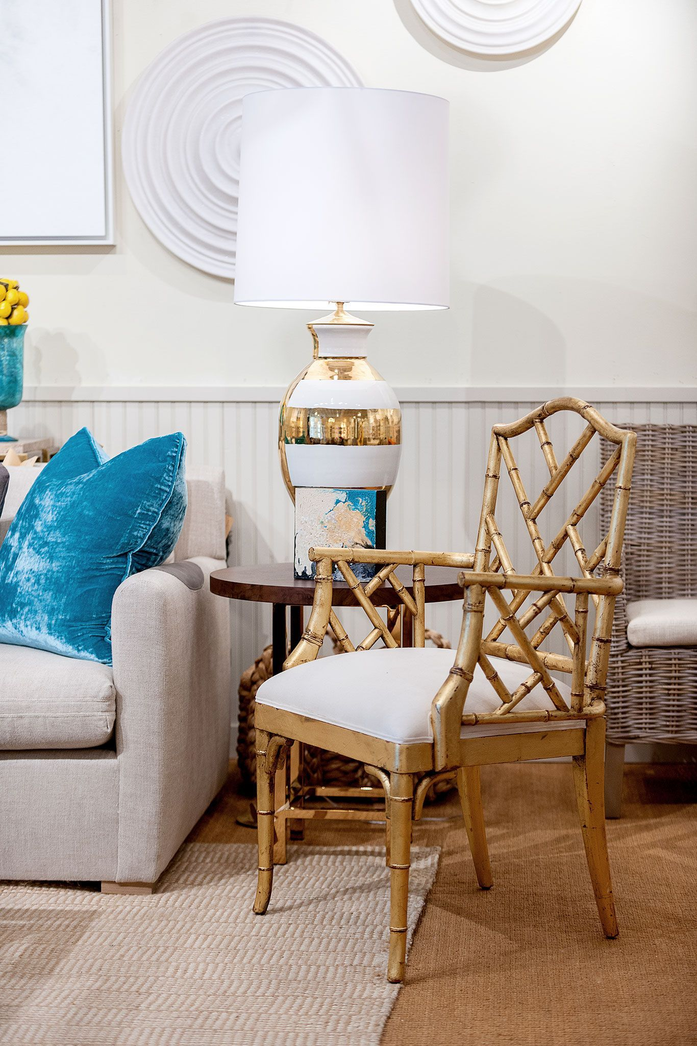 Modern Living Room With Side Chair And Velvet Cushion