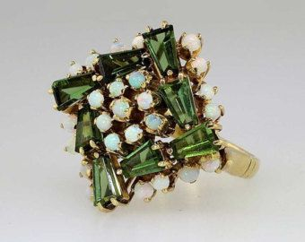 Gorgeous Colorful 1960's Green Tourmaline & Opal Cocktail Ring 18k